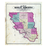 1877, Holt County Outline Map, Missouri, United States Giclee Print