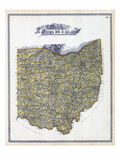 1896, Ohio State Map, Ohio, United States Giclee Print