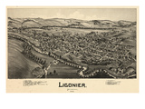 1900, Ligonier Bird's Eye View, Pennsylvania, United States Giclee Print