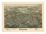 1897, Uniontown Bird's Eye View, Pennsylvania, United States Giclee Print