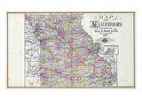 1896, Missouri State Map, Missouri, United States Giclee Print
