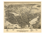 1877, Portsmouth Bird's Eye View, New Hampshire, United States Giclee Print
