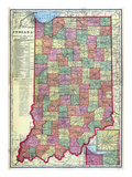 1909, Indiana State Map, Indiana, United States Reproduction procédé giclée