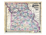 1876, Missouri Railroad Map, Missouri, United States Giclee Print