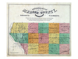 1874, Mercer County Map, Illinois, United States Giclee Print