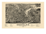 1884, Exeter Bird's Eye View, New Hampshire, United States Giclee Print
