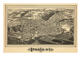 1882, Ithaca Bird's Eye View, New York, United States Giclee Print