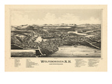 1889, Wolfeborough Bird's Eye View, New Hampshire, United States Giclee Print