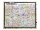 1898, Johnson County Outline Map, Missouri, United States Giclee Print