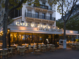 Chairs and Tables in a Restaurant at Dawn, Cafe Du Trocadero, Paris, Ile-De-France, France Photographic Print by  Green Light Collection
