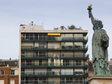 Low Angle View of a Statue, Statue of Liberty, Pont De Grenelle, Paris, Ile-De-France, France Photographic Print by  Green Light Collection