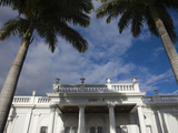 Low Angle View of Palm Tree in Front of an Art Museum, Musee Leon Dierx, St. Denis, Reunion Island Photographic Print by Green Light Collection