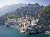 Town at the Waterfront, Amalfi, Atrani, Amalfi Coast, Salerno, Campania, Italy Photographic Print by Panoramic Images