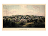 1857, Staunton Bird's Eye View, Virginia, United States Giclee Print