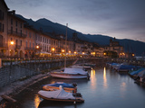 Harbor at Dusk, Piazza Vittorio Emanuele Iii, Cannobio, Lake Maggiore, Piedmont, Italy Photographic Print by  Green Light Collection