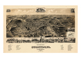 1891, Staunton Bird's Eye View, Virginia, United States Giclee Print