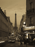 Street with a Tower in the Background at Dusk, Eiffel Tower, Champ De Mars, Paris, Ile-De-France... Photographic Print by  Green Light Collection