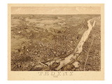 1881, Troy 1881 Bird's Eye View 23x39, New York, United States Giclee Print