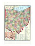 1910, State Map, Ohio, United States Giclee Print