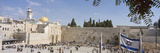 Crowd Praying in Front of a Stone Wall, Wailing Wall, Dome of the Rock, Jerusalem, Israel Photographic Print by  Panoramic Images