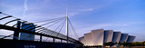 Footbridge with an Auditorium at Dusk, Bells Bridge, Clyde Auditorium, River Clyde, Glasgow, Sco... Photographic Print by  Panoramic Images