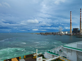 Twin Chimneys of Poolbeg Power Station, Aka the Pigeon House,From the Stern of a Ferry Sailing U... Photographic Print