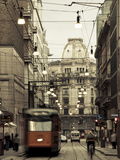 Tram on a Street, Piazza Del Duomo, Milan, Lombardy, Italy Photographic Print by  Green Light Collection