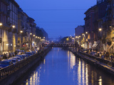 Cafes and Restaurants Along a Canal, Naviglio Grande, Milan, Lombardy, Italy Photographic Print by Green Light Collection