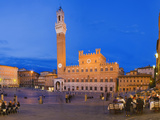 Clock Tower with a Palace in a City, Torre Del Mangia, Palazzo Pubblico, Piazza Del Campo, Siena... Photographic Print by  Panoramic Images