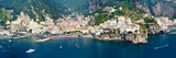 Aerial View of Towns, Amalfi, Atrani, Amalfi Coast, Salerno, Campania, Italy Fotografisk tryk af Panoramic Images