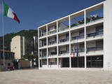 Italian Flag in Front of a Building, Casa Del Fascio, Como, Lakes Region, Lombardy, Italy Photographic Print by  Green Light Collection