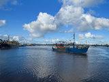 Fishing Boats Ettibg Off from the Quays of Wexford Town,Looking North to the Slaney Bridge,Count... Photographic Print