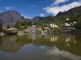 Reflection of Mountains in a Lake, Mare a Joncs Lake, Cilaos, Cirque De Cilaos, Reunion Island Photographic Print by  Green Light Collection
