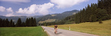 Cyclist in a Forest, Balderschwang, Oberallgau, Allgau, Bavaria, Germany Photographic Print by  Panoramic Images