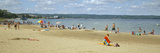 Tourists on the Beach, Traverse City, Grand Traverse County, Michigan, USA Photographic Print by  Panoramic Images