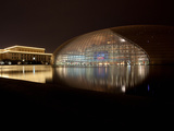 National Centre for the Performing Arts with Great Hall of the People Lit Up at Night, Beijing, ... Photographic Print