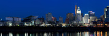 Cincinnati Skyline and John A. Roebling Suspension Bridge at Twilight from across the Ohio River... Photographic Print by  Panoramic Images