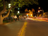 Street Scene with Buildings Lit Up at Night, Santa Fe, New Mexico, USA Photographic Print