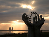 "The Disused Richborough Power Station Beyond the Ramsgate Based ""Hands and Molecules"" Sculpture,... Photographic Print"