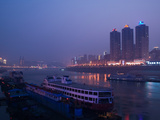 Ships at River Port Area at Evening, Chaotianmen Square, Chongqing, Yangtze River, Chongqing Pro... Photographic Print