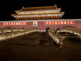 Facade of a Palace at Night, Tiananmen Gate of Heavenly Peace, Tiananmen Square, Forbidden City,... Photographic Print