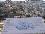 Information Sign with Ancient Town in the Background, City of David, Jerusalem, Israel Photographic Print