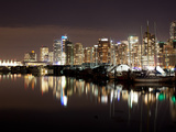 Harbor View with Buildings Lit Up at Night, Coal Harbor, Lost Lagoon, Vancouver, British Columbi... Photographic Print