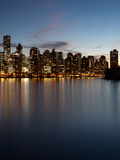 Downtown Skylines Lit Up at the Waterfront, Coal Harbor, Lost Lagoon, Vancouver, British Columbi... Photographic Print