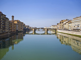 Bridge across a River, Ponte Vecchio, Arno River, Florence, Tuscany, Italy Photographic Print