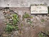 Signboard on a Weathered Wall, Appian Way, Rome, Lazio, Italy Photographic Print