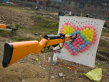 Air Rifle and Valentine&#39;s Day Target in Carnival, Ciqikou, Chongqing, China Photographic Print