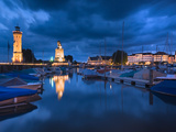 Harbor at Dusk, Lindau, Lake Constance, Bavaria, Germany Photographic Print by  Panoramic Images