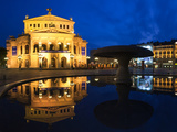 Alte Oper Reflecting in Lucae Fountain, Frankfurt, Hesse, Germany Photographic Print by  Panoramic Images