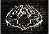 Illuminati Hand Sign Graffiti Póster